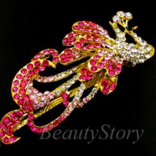 Item  Austrian rhinestone crystal flower hair clamp clip