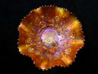 OUTSTANDING NORTHWOOD GOOD LUCK RED HOT NEON MARIGOLD CARNIVAL GLASS