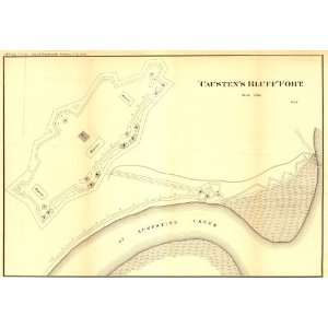 Civil War Map Caustens Bluff fort. Defenses of Savannah