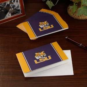 LSU Tigers 10 Pack Color Block Folded Note Cards Sports