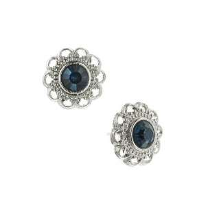 Liliana Flower Button Blue Crystal Earrings Jewelry