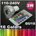 16 Color Changing GU10 3W RGB LED Light Bulb Lamp AC 11