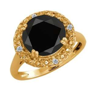 3.04 Ct Round Black Onyx and White Diamond 14k Yellow Gold