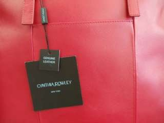 New Cynthia Rowley New York Epi Leather Large Satchel Tote Bag, Red