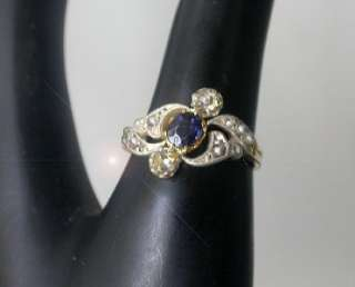 Antique Late 19c Art Nouveau 18K White & Rose Gold Sapphire Diamond