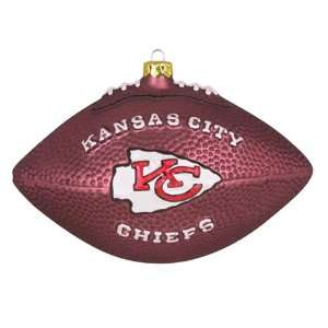 Pack of 2 NFL Kansas City Chiefs Glass Football Christmas