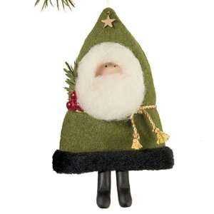 Handmade Wool Felt Green Santa Christmas Ornament