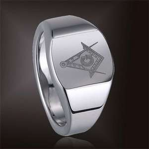 Tungsten Carbide Silver Magnificen Freemason Masonic Ring Sizes 7 to