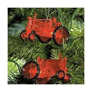 Red Farm Tractor Christmas Lights   Green Wire