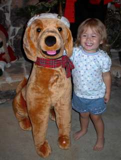 GIANT ANIMATED LIFE SIZE YELLOW LAB DOG CHRISTMAS DISPL