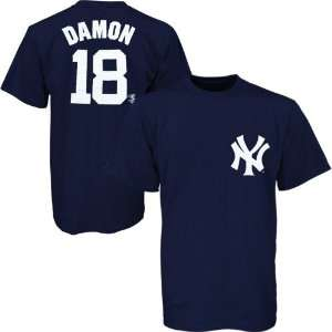 Yankees #18 Johnny Damon Navy Blue Players T shirt