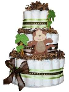 Green Monkey Jungle Themed Diaper Cake Baby Shower Center Piece