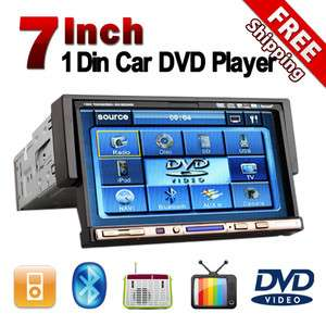 Single Din Car Stereo DVD CD Player DivX MP4+BT+Radio+USB 7 Touch