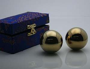Golden Chinese Healthy Exercise Massage Metal Balls