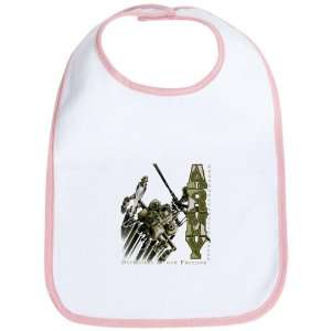 Baby Bib Petal Pink Army US Military Defenders Of Our
