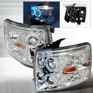07 Up Chevy Silverado Halo Projectors Headlights   Chrome