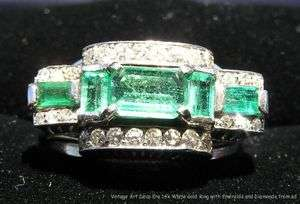 Vintage Estate Art Deco Era Ring 14k White Gold Emeralds Diamonds