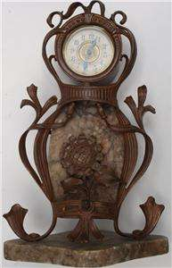 OLD ART NOUVEAU DESK CLOCK COPPER MARBLE RUSSIAN FRENCH