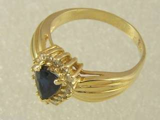 14 KT GOLD LADIES PEAR SHAPE SAPPHIRE & DIAMOND RING