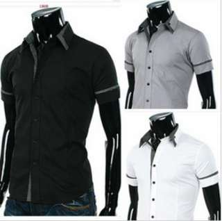 NEW Mens Slim Stripes Dress Shirts Fit Casual Shirts Short Shirts