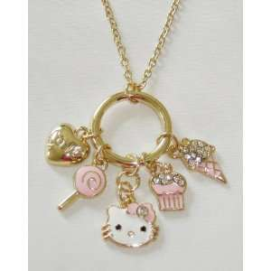 Hello Kitty Pink Ice Cream & Crystals Multi Charm Gold Tone Necklace
