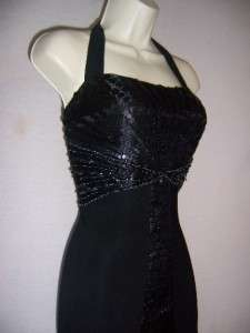 SUE WONG Black Halter Stretch Jersey Beaded Formal Evening Gown dress