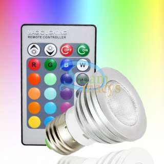 3W E27 Remote Control LED Bulb Light 16 Color 85V 240V