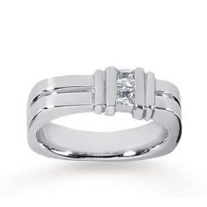 14k White Gold Trendy Channel 0.60 Carat Mens Diamond Ring Jewelry