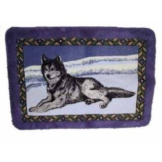 Howling Wolf Wolves Moon Rug Mat Bathroom Bathmat Decor
