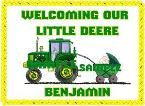 John Deere Tractor Baby Shower Edible Frosting Cake To*