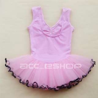 Pink Fairy Girls Ballet Dance Leotard Dress Tutu 3 8Y