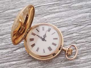 AWESOME ART NOUVEAU,ENAMEL GOLD 18K CYLINDRE 10 RUBIS POCKET WATCH