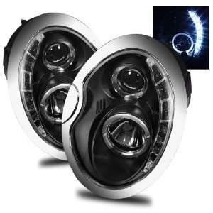 02 06 Mini Cooper Black LED Halo Projector Headlights /w
