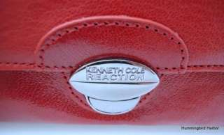 Kenneth Cole Reaction Red Leather Top Zip Clutch Wallet NWT $55