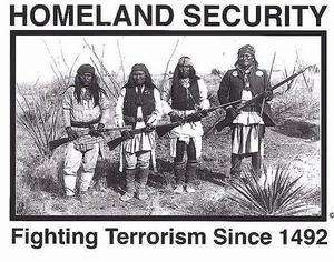 Original HOMELAND SECURITY American Indians Sticker Decal Fighting