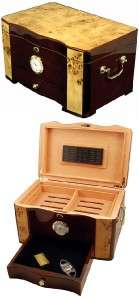 CUBAN CRAFTERS CUBAN CIGAR HUMIDOR 120 CT ROSEWOOD MAPLE BURL TOP AND