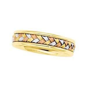 Size 7 14K Yellow/White/Rose Gold Tri Color Hand Woven Band Jewelry