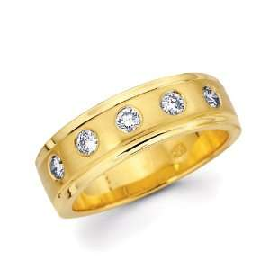 14K Yellow Gold Round Diamonds Womens Couple Wedding Ring Band (0.32
