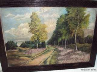 Arts & Crafts Original Oil Painting Birch Trees & LAVENDER by