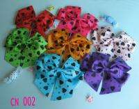 New Girls Baby Large strip Hair Bow Clip flower hairpin 7pcs