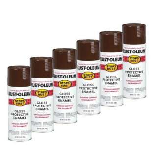 Rust Oleum Stops Rust 12 Oz. Gloss Leather Brown Spray Paint (6 Pack