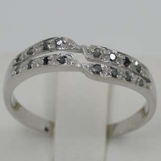 22 CARATS 14K SOLID WHITE GOLD NATURAL BLACK DIAMOND CLUSTER BAND RING