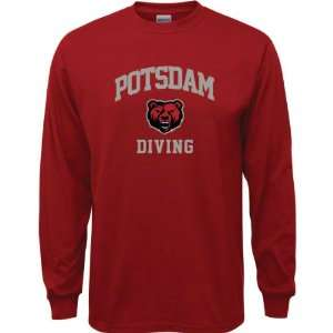 SUNY Potsdam Bears Cardinal Red Youth Diving Arch Long Sleeve T Shirt