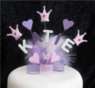 PRINCESS CROWN BIRTHDAY CAKE TOPPER 1st 2nd 3rd 4th 5th ANY NAME, AGE