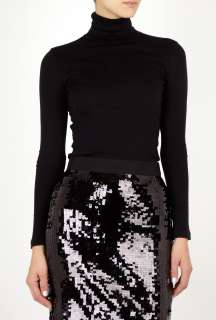 Splendid  Black Fine Gauge Polo Neck Top by Splendid