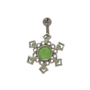 Sterling Silver Antique Design Belly Ring with Green Cz