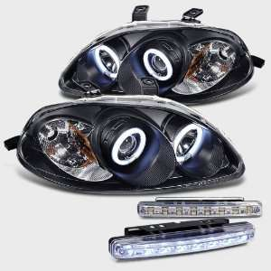 Projector Head Lights+led Bumper Fog Lamp Pair New Set Automotive