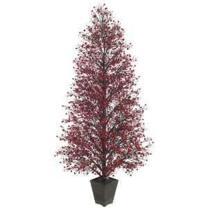Red & Black Glittered Berry Christmas Tree #XBZ729 RE