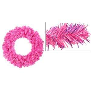 Sparkling Artificial Christmas Wreath   Pink Lights