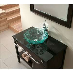 Clear Tempered Glass Sink W. Engraved Tulip Textures